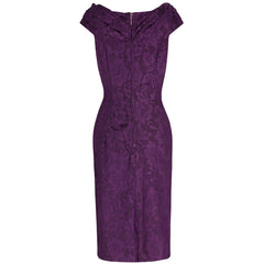 Purple Lace Bardot Wiggle Pencil Dress