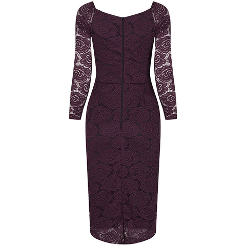 Wine Red Long Sleeve Lace Wiggle Pencil Dress