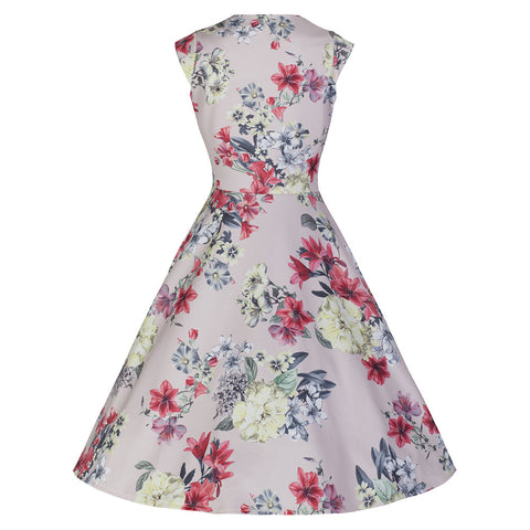 Peach Pink Floral Vintage Swing Dress