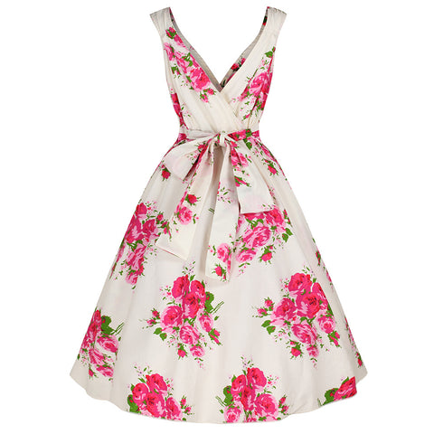 Ivory White Floral Swing Dress Pink & Green Print
