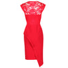 Red Lace Asymmetric Skirt Pencil Dress
