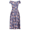 Mauve Floral Print Cap Sleeve Crossover Top 50s Swing Bardot Dress - Pretty Kitty Fashion