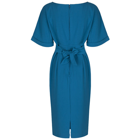 Teal Blue Short Sleeve Kimono Tie Dress