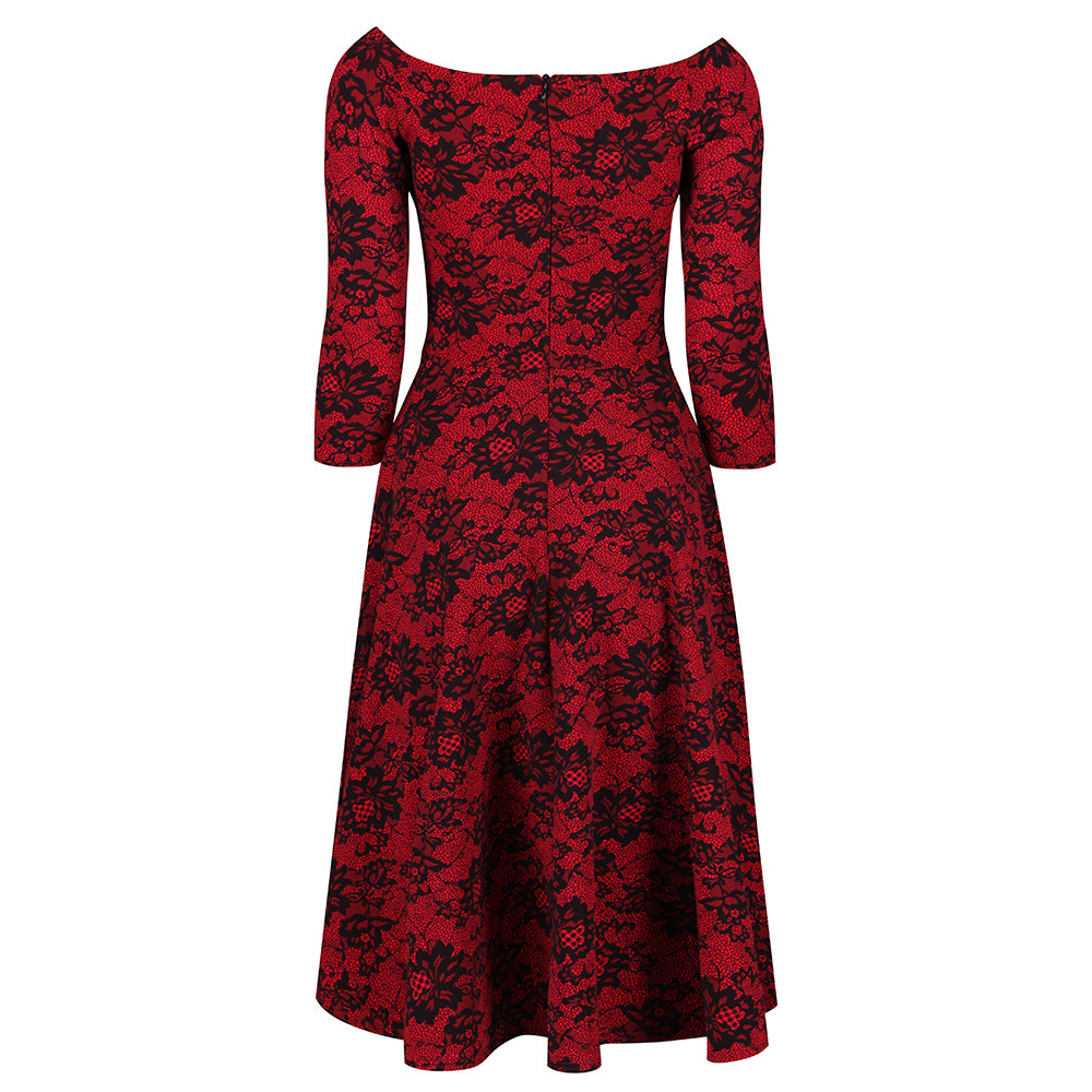 Vintage 40/'s 50/'s Style Embossed Flocked Sweetheart Cocktail Dress New 8-24