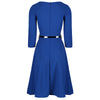 Classic 1950s Vintage Royal Blue Belted Rockabilly Swing Dress - Pretty Kitty Fashion