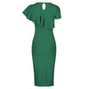Emerald Green Asymmetric Frill Overlay Bodycon Wiggle Pencil Dress