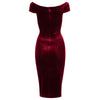 Claret Wine Red Velour Cap Sleeve Crossover Top Bardot Wiggle Dress - Pretty Kitty Fashion