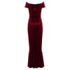 Claret Red Cap Sleeve Twist Bust Fishtail Hem Velour Maxi Dress - Pretty Kitty Fashion