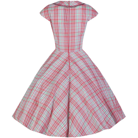 Pink Plaid Retro Swing Dress