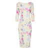 Yellow Pink Floral Sleeve Vintage Pleat Detail Slinky Pencil Dress