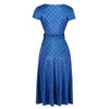 Classic Royal Blue Polka Dot Cap Sleeve Fit And Flare Midi Dress