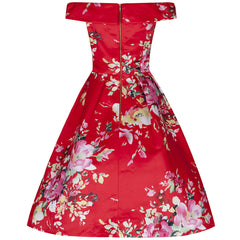 Red Bardot Neck Floral Swing Dress