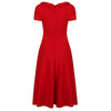 Red Neck Tie Short Sleeve Vintage Swing Dress