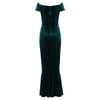 Emerald Green Cap Sleeve Twist Bust Fishtail Hem Velour Maxi Dress - Pretty Kitty Fashion