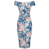 Blue Floral Cap Sleeve Crossover Top Bardot Wiggle Dress - Pretty Kitty Fashion