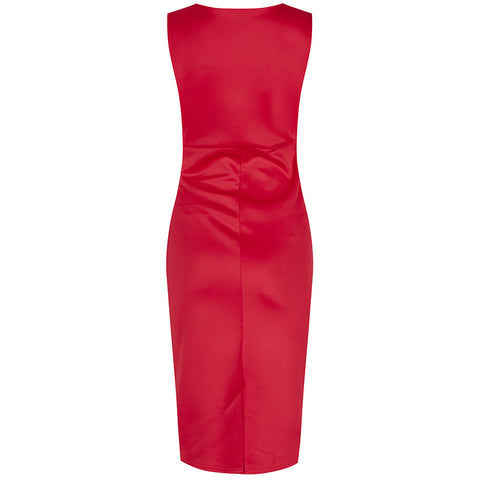 Red Panelled Lace Wiggle Pencil Dress