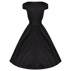 Pretty Kitty Black Button Belted Swing Dress