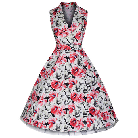 Pretty Kitty White Red Blossom Floral 50s Collared Swing Dress