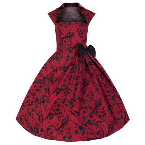 Pretty Kitty Vintage Red Print Bow Swing Dress