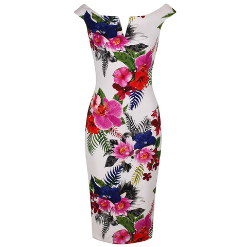 Ivory White and Multi Colour Floral Print Bardot Bodycon Pencil Dress