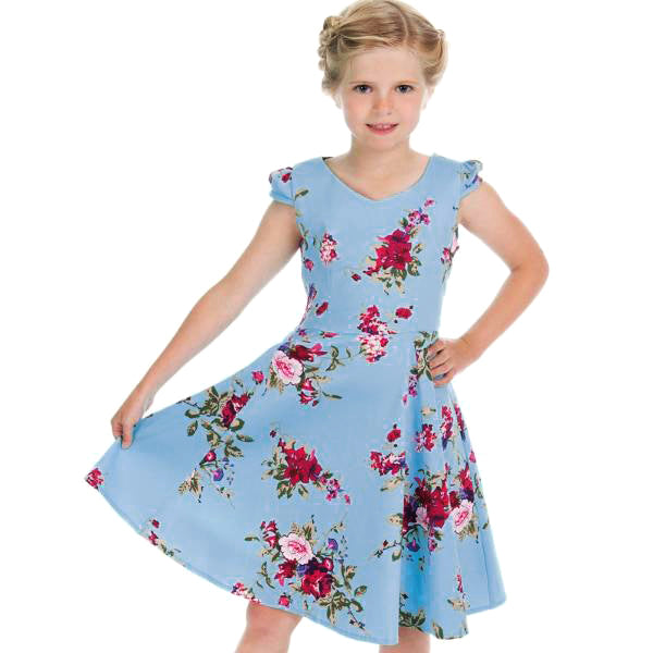 Little Kitty Girl's Sky Blue Floral Party Dress - Pretty Kitty Fashion