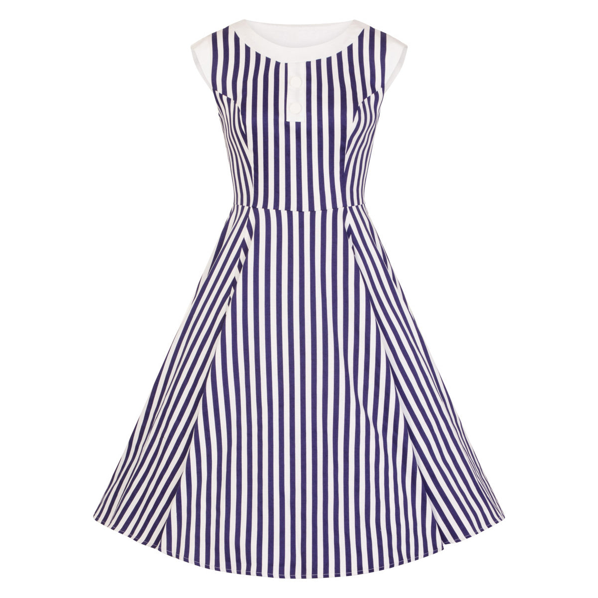 f8bf8c4613 Navy Blue and White Striped Sleeveless Rockabilly 50s Swing Dress - Pretty  Kitty Fashion