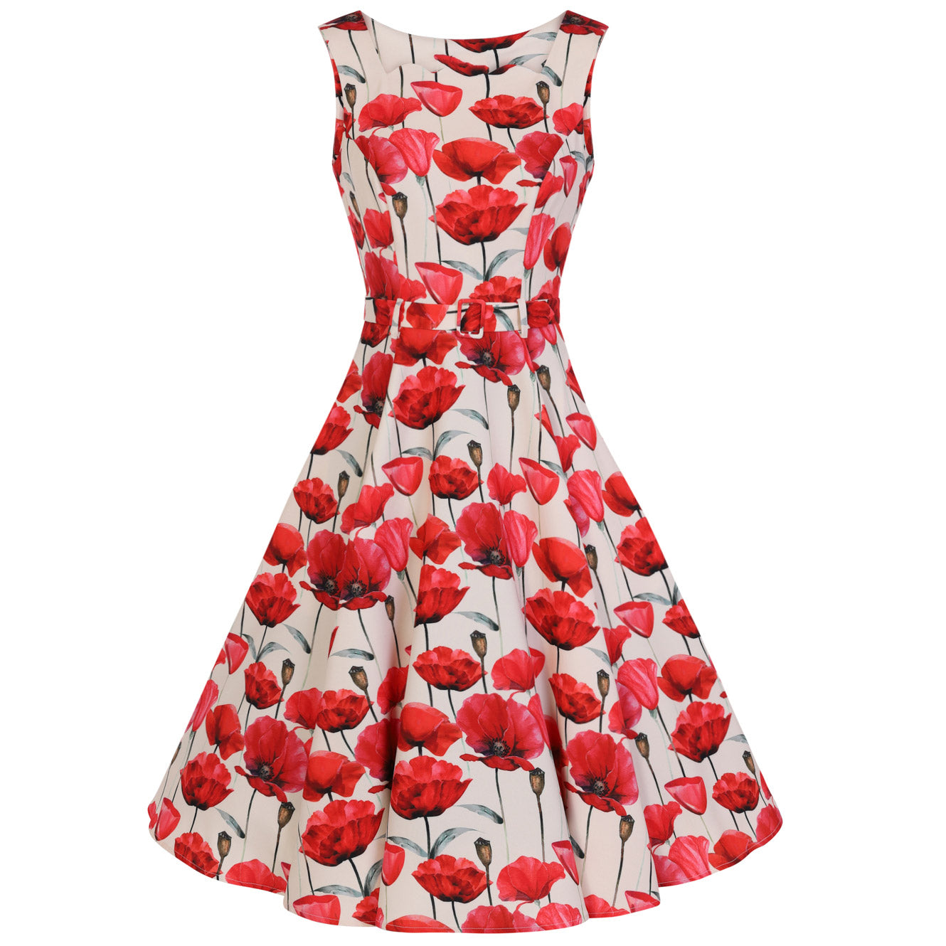 722bf3e63cfb Off White Red Poppy Vintage Belted 1950s Swing Dress