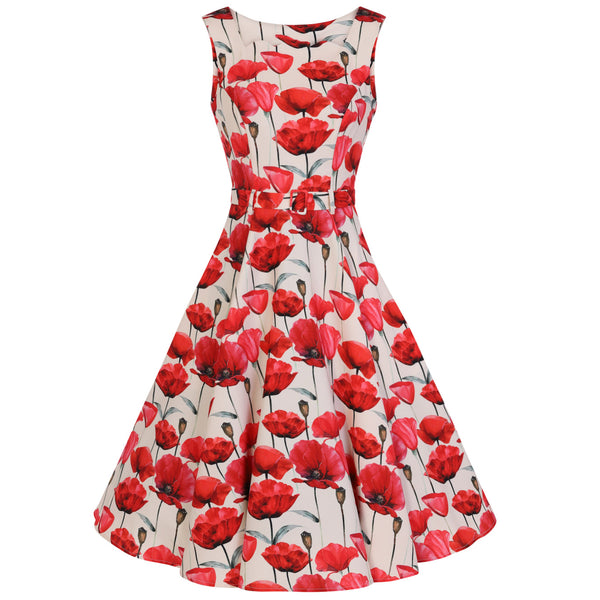 Off White Red Poppy Vintage Belted 1950s Swing Dress