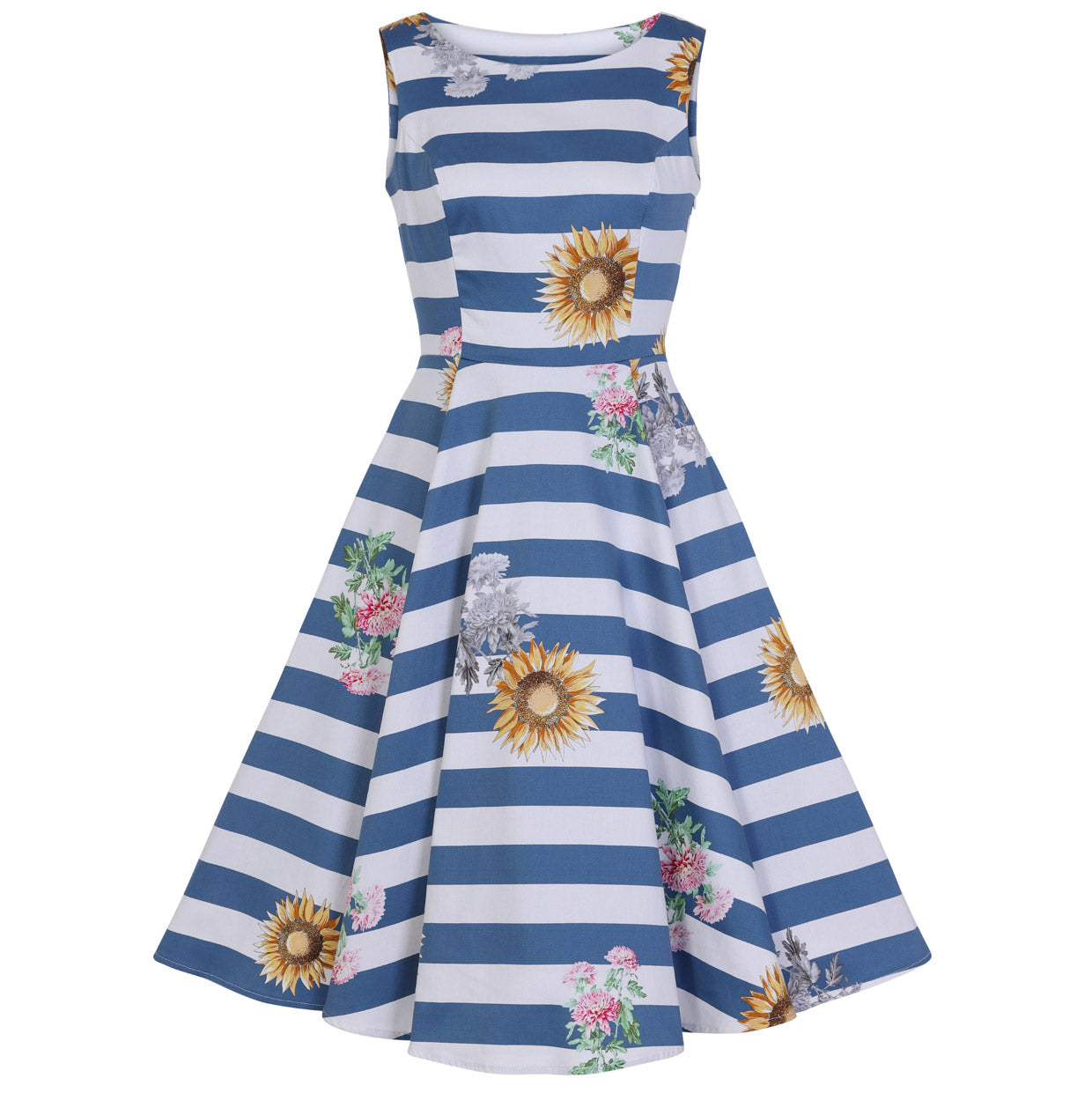1ea6bbab4e2e7 Blue And White Striped Sunflower Audrey 50s Summer Swing Dress - Pretty  Kitty Fashion