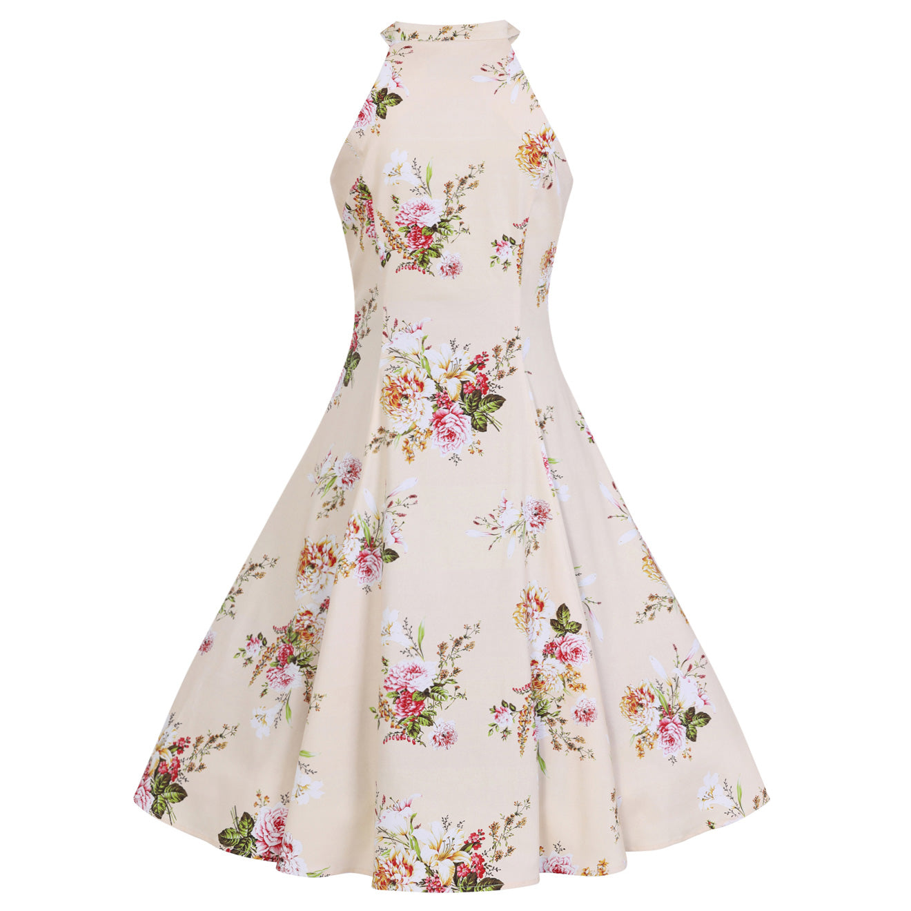 Cream And Floral Print Halter Neck 50s Swing Dress - Pretty Kitty ...