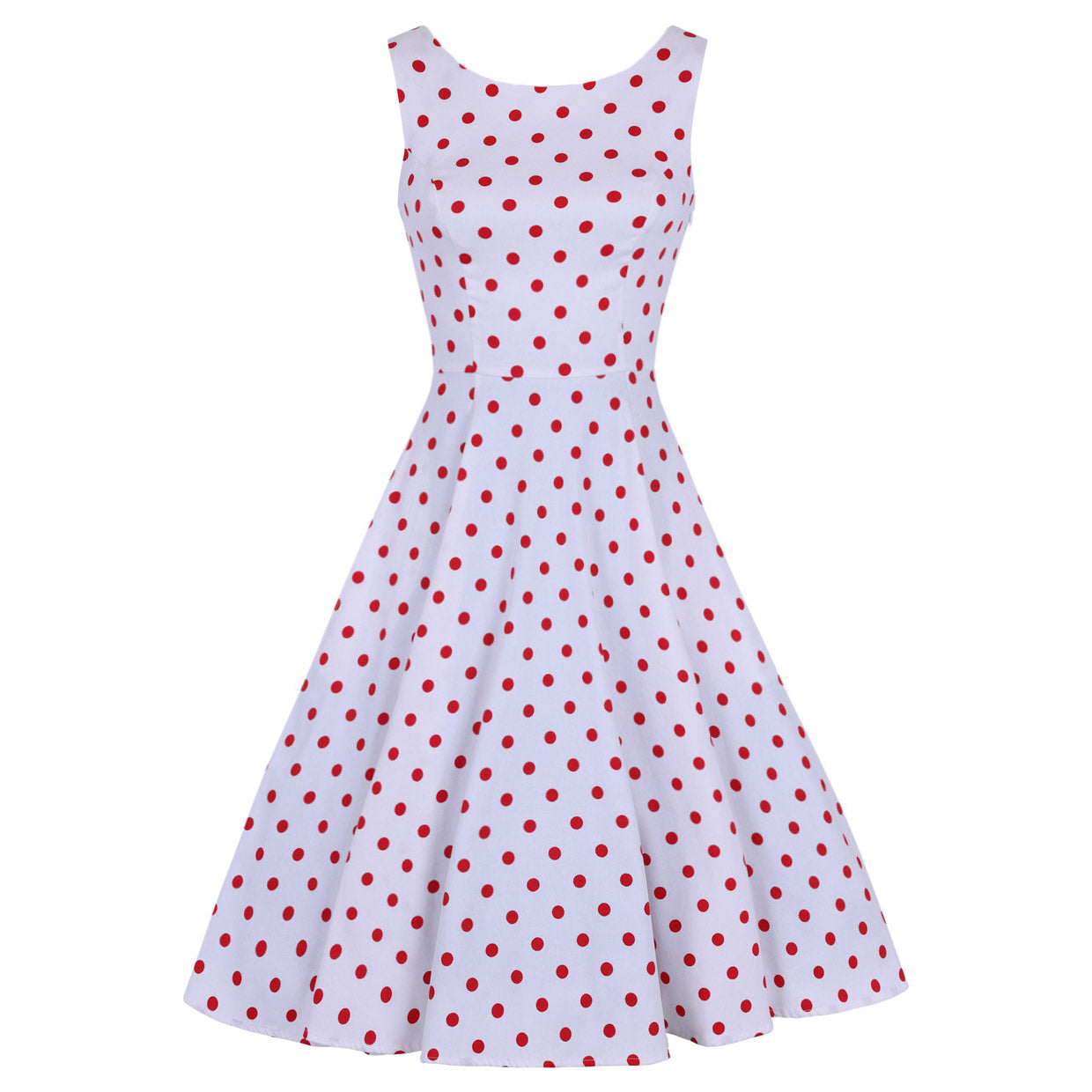 29603a5196c1 White and Red Polka Dot 50s Audrey Swing Dress