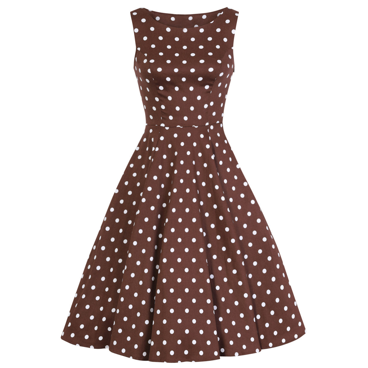 f9c915775e47 Chocolate Brown And White Polka Dot 50s Audrey Swing Dress