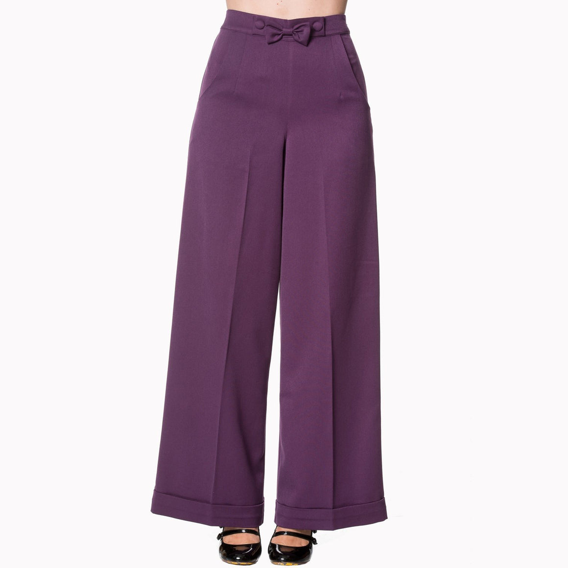 High Waistband Aubergine Flare Trousers - Pretty Kitty Fashion