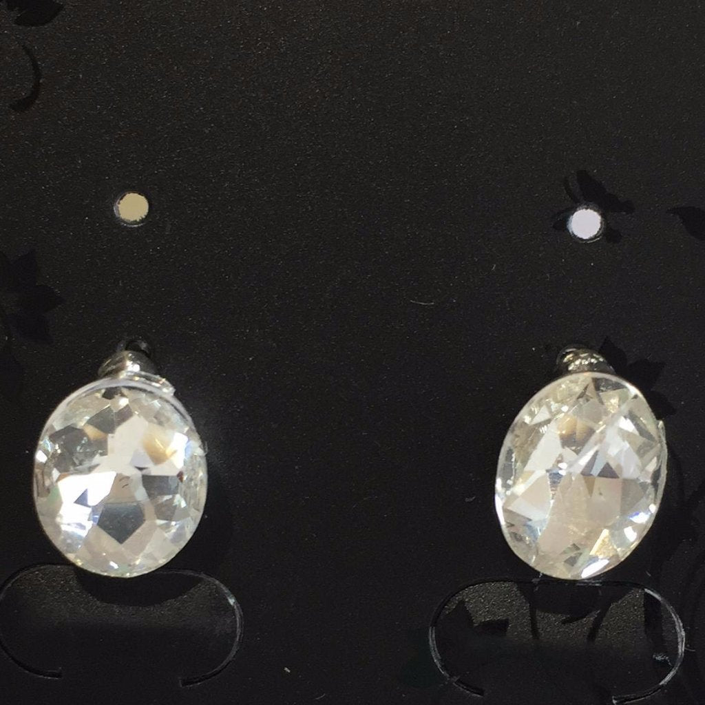 Silver Oval Diamante Earrings
