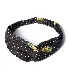 Black And White Polka Dot Pineapple Print Vintage Headscarf - Pretty Kitty Fashion