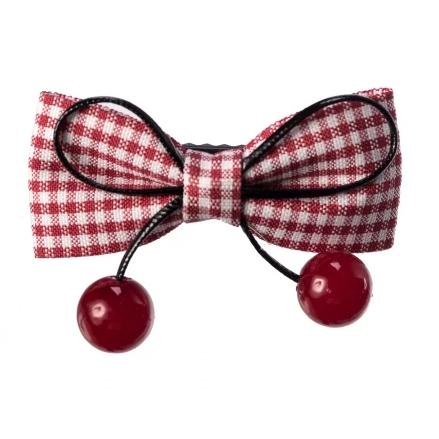Red And White Gingham Check Bow Cherry Hair Clip - Pretty Kitty Fashion