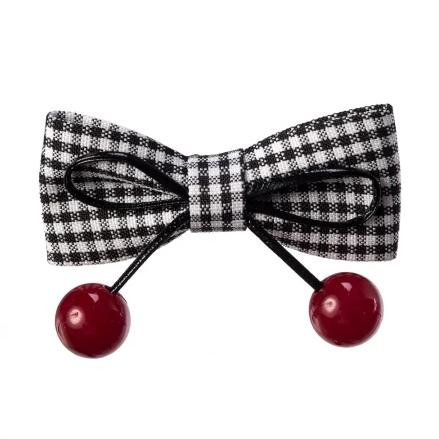 Black and White Gingham Check Bow Cherry Hair Clip - Pretty Kitty Fashion
