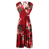 Red Floral Print V Neck Crossover Wrap Top Empire Waist Swing Dress