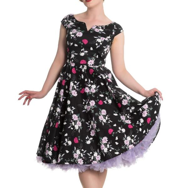 ef543637ee31 Black and Pink Rose Floral Print Rockabilly 50s Swing Dress