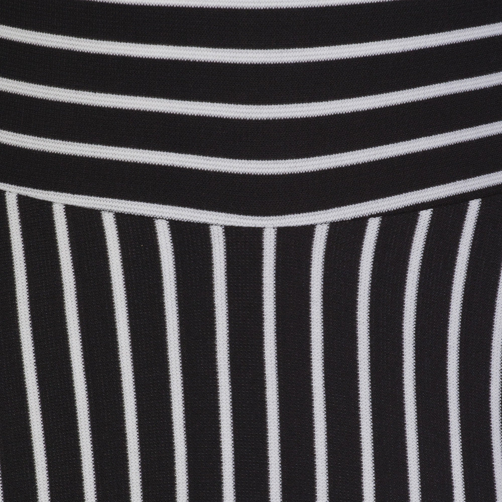 Black and white striped 3 4 sleeve swing dress pretty kitty fashion