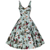 Mint Green Retro Vintage Floral Print Summer 50s Swing Dress - Pretty Kitty Fashion