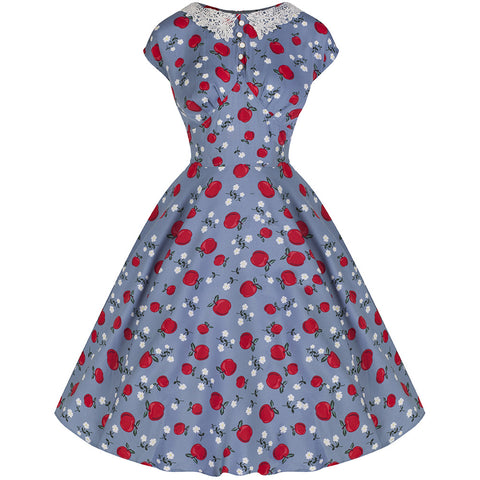 Blue Red Apple Vintage Dress - Pretty Kitty Fashion