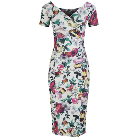 Cream White Floral Capped Sleeve Bodycon Wiggle Dress