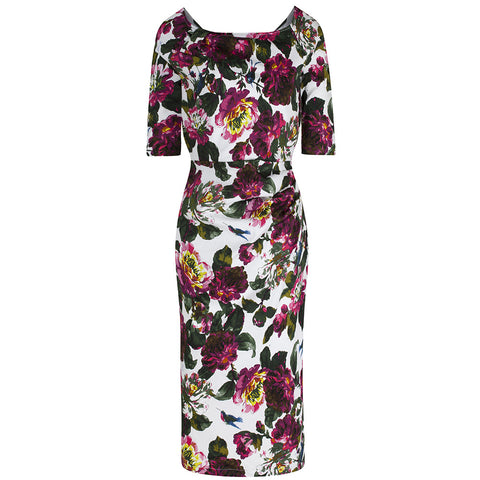 White and Pink Floral 1/2 Sleeve Wiggle Pencil Dress