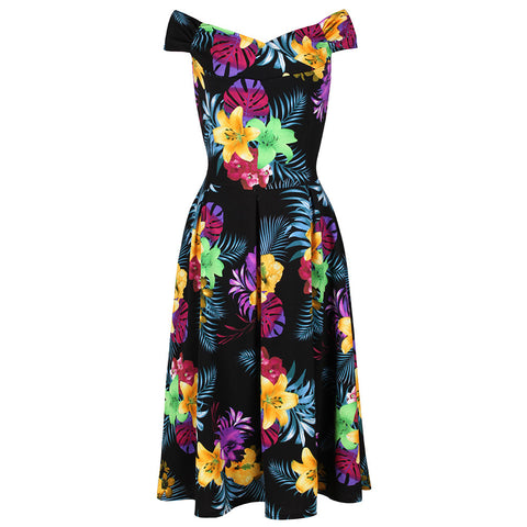 Black Floral Print Crossover Bardot 50s Swing Dress