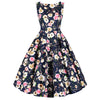 Navy Blue Floral Print Wrap Belt Sleeveless Audrey 50s Swing Dress