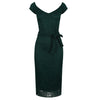 Forest Green Vintage Lace Tie Front Bodycon Midi Pencil Dress - Pretty Kitty Fashion
