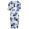 White Blue Floral 1/2 Sleeve 40s Wrap Pencil Wiggle Dress