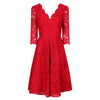 Jolie Moi Vintage Red 3/4 Sleeve V Neck Embroidered Lace 50s Swing Dress - Pretty Kitty Fashion