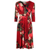 Red Floral 3/4 Sleeve V Neck Crossover Top Empire Waist Swing Dress